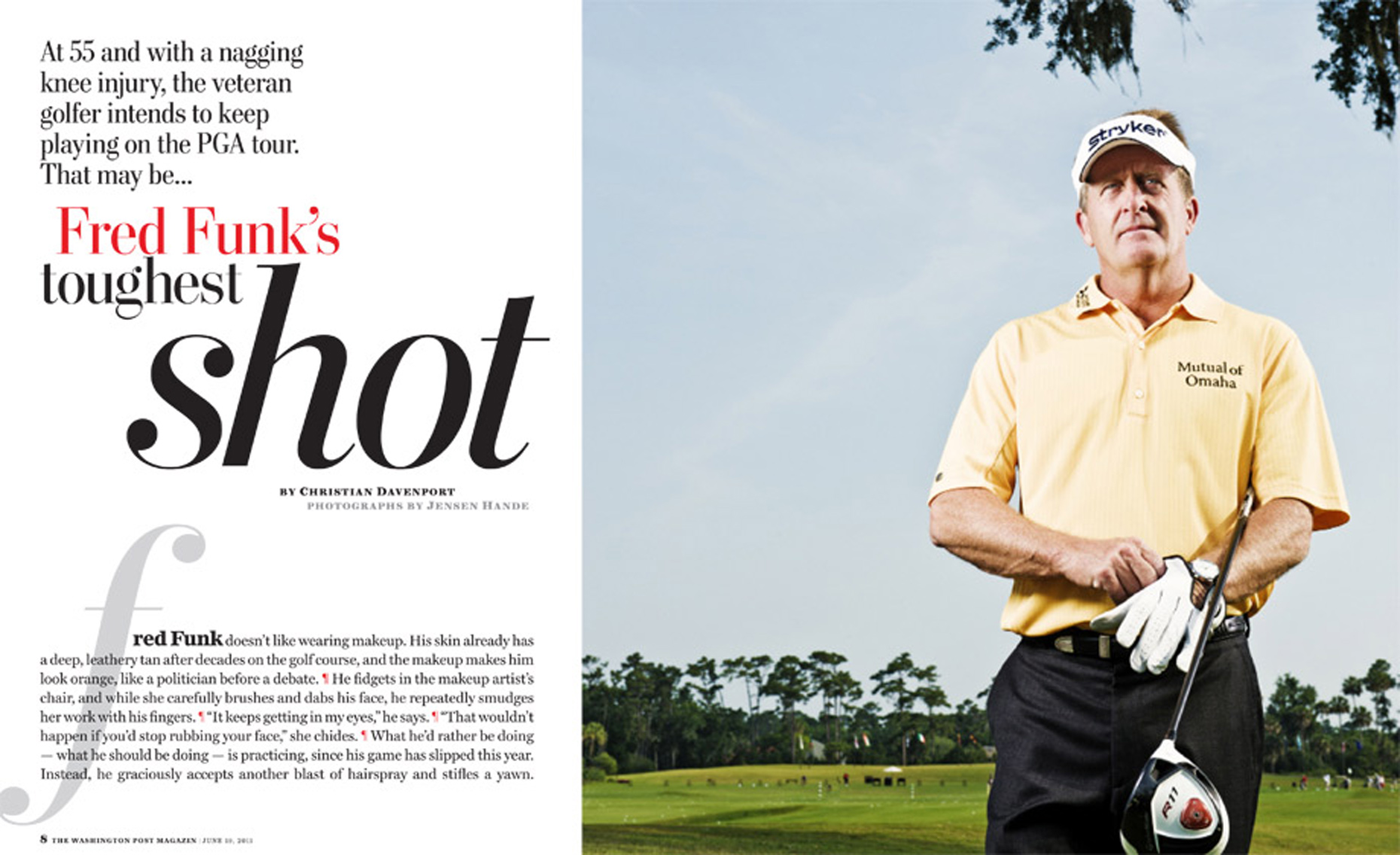 Editorial, Advertising and Corporate Location Photography Jacksonville, Florida Fred Funk Washington Post Magazine PGA