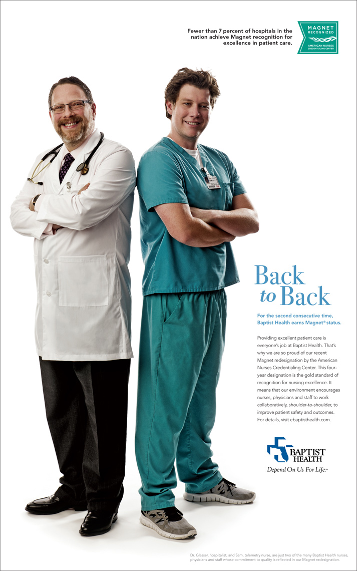 Editorial, Advertising and Corporate Studio Location Photography Jacksonville, Florida Baptist Medical Campaign