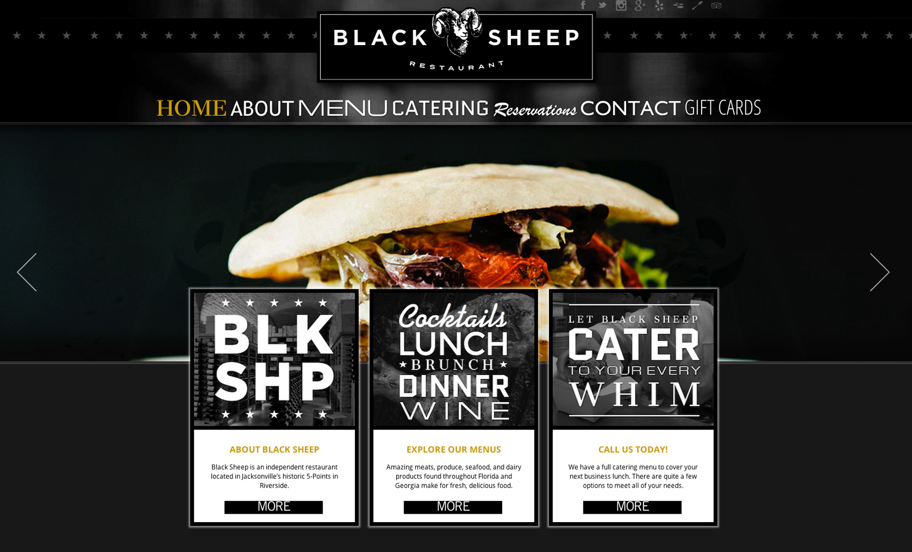 Editorial, Advertising and Corporate Studio Location Photography Jacksonville, Florida Black Sheep Restaurant Website Photography