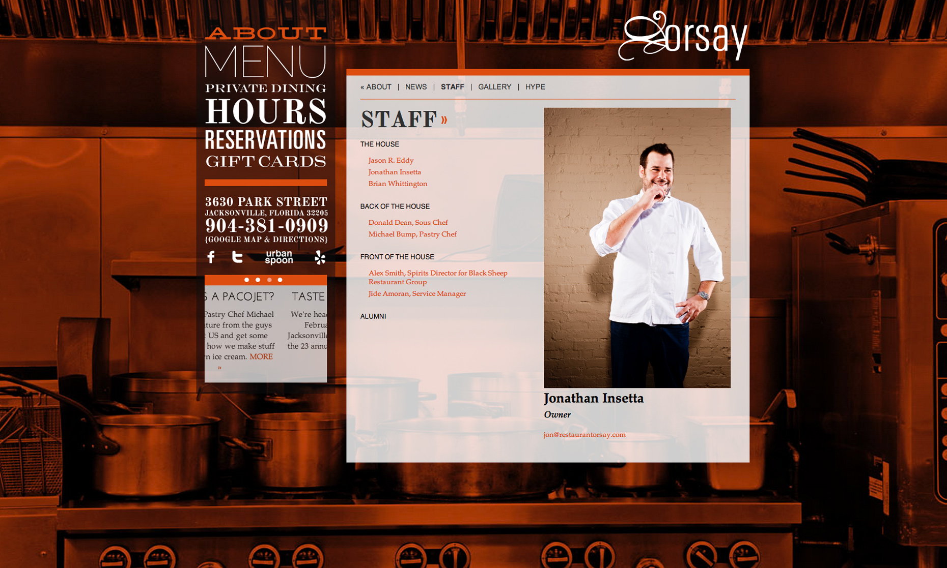 Editorial, Advertising and Corporate Studio Location Photography Jacksonville, Florida Orsay Restaurant Website Photography